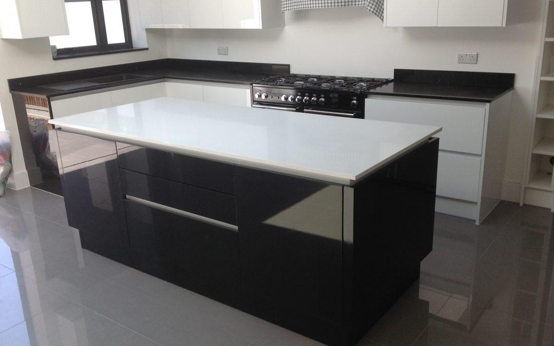 Monochrome quartz worktops