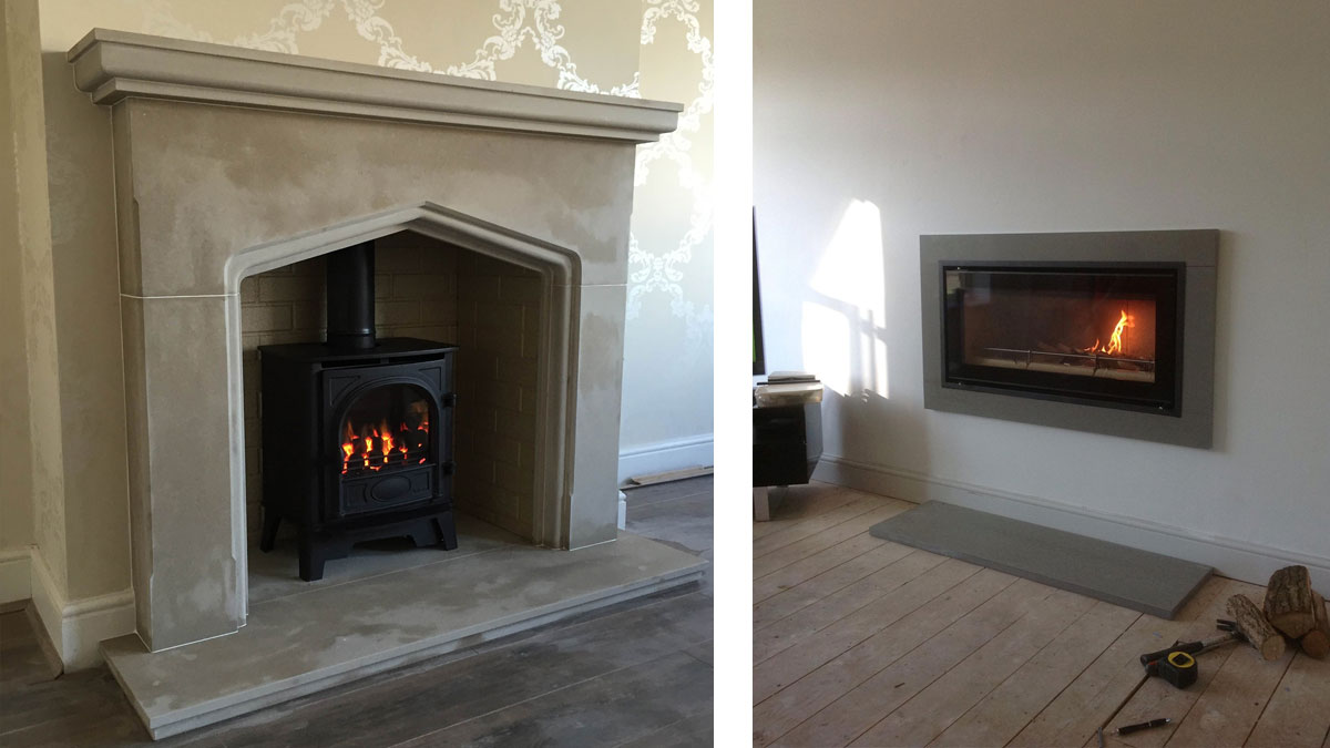 Arria sandstone traditional style fireplace and hearth and Grey granite contemporary surround and hearth.