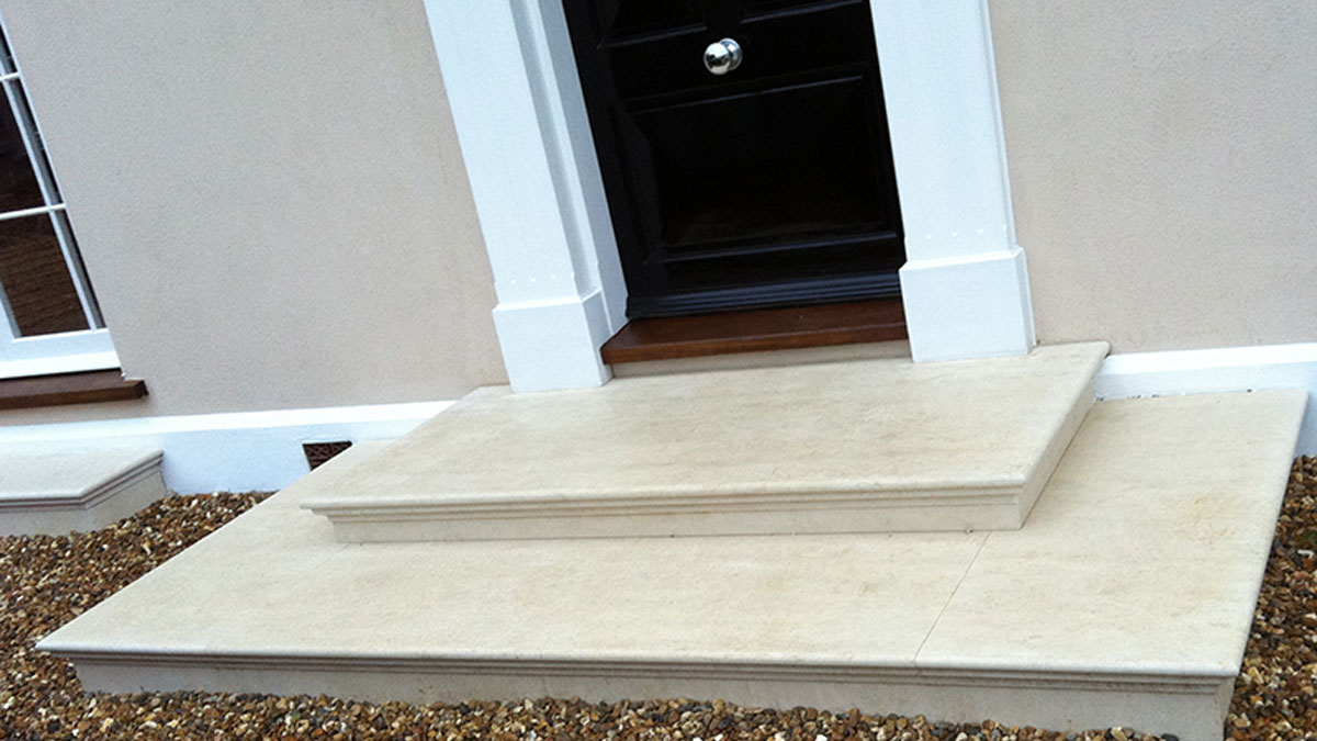 We made these beautiful stone steps, finished with bull-nose edging. Expert stonemasonry service across Essex