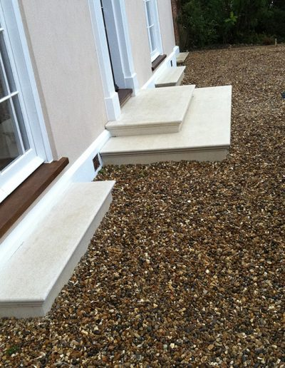 We made these beautiful stone steps, finished with bull-nose edging