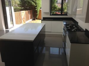 Black and white quartz worktops
